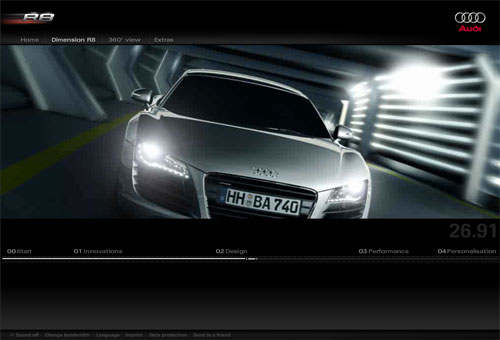 Audi R8 micosite screenshot
