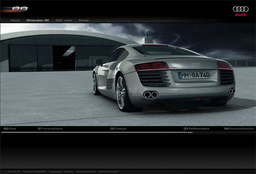 Audi R8 micosite screenshot