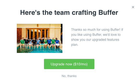 Buffer upselling attempt